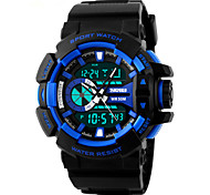 Skmei® Men's Big Size Dial Dual Time Zone Outdoor Sports LED Wrist Watch 50m Waterproof Assorted Colors Cool Watch Unique Watch