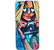 сексуальная девушка рисунок камеры прозрачная задняя крышка ПК для Iphone 6 плюс