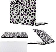 """2 в 1 черный / фиолетовый леопард жесткий пластик Чехол для MacBook Pro 13 """"/ 15"""" с прозрачной крышкой клавиатуры"""