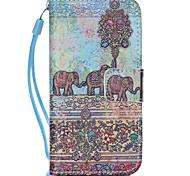 Слон шаблон PU кожаный материал флип карты телефон случае для iPhone 5с