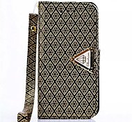 cheap -Diamond Design Leather Flip Stand Wallet Wrist Strap Rope Cover Case For iPhone 4/4S