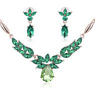 baratos -Mulheres Conjunto de jóias - Cristal, Imitações de Diamante Flor Boêmio, Boho Incluir Rosa / Verde / Azul Para Casamento / Festa / Colares