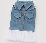 Dog Dress Denim Jacket/Jeans Jacket Dog Clothes Cotton Spring/Fall Summer Fashion Jeans Blue Costume For Pets