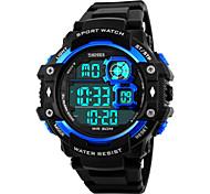 Homens Relógio Esportivo Relógio de Pulso Digital LED Calendário Cronógrafo Impermeável alarme Relógio Esportivo PU Banda Preta