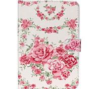 caso de la cubierta del soporte de cuero en folio rosas con el soporte para iPad Mini 3/2/1