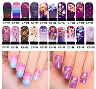 Недорогие -Цветы - 3D наклейки на ногти - Пальцы рук - 18cmX4.5cm each piece - 20pcs - ПВХ