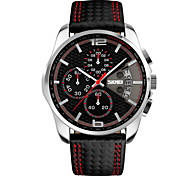 SKMEI® Men's Fashion Sport Dial Chrono Date Leather Strap Quartz Watch Cool Watch Unique Watch