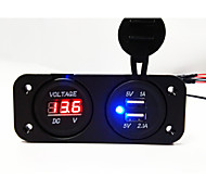 cheap -Double USB 2.0 Port Car Charger with LED Voltage Indicator LCD Screen