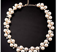 Women's Statement Necklaces Pearl Strands Pearl Imitation Diamond Alloy Cute Style Costume Jewelry Jewelry For Party