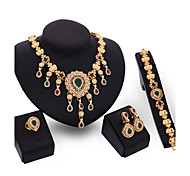 Jewelry Set Vintage Cute Party Work Casual Link/Chain Statement Jewelry Fashion Party Cubic Zirconia Gold Plated 18K gold Alloy Bracelet