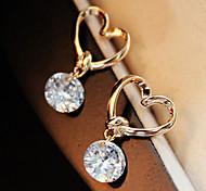 cheap -Women's Heart Crystal Stud Earrings - Heart Golden Earrings For Wedding Party Daily