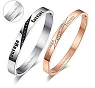 день святого валентина подарки персонализированные любителей ювелирных изделий титана стали золото / серебряные браслеты (одна пара)