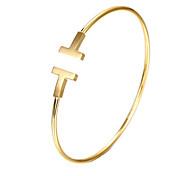 Недорогие -Браслет разомкнутое кольцо Уникальный дизайн Для вечеринки Для офиса На каждый день Мода Нержавеющая сталь Позолота Титановая сталь