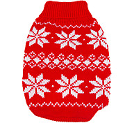 Dog Sweater Dog Clothes Keep Warm Christmas New Year's Snowflake Red Blue Costume For Pets