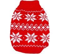 Недорогие -Собака Свитера Одежда для собак В снежинку Красный Синий Сукно Костюм Для домашних животных Муж. Жен. Сохраняет тепло Новый год Рождество