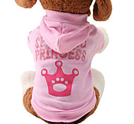 cheap -Cat Dog Hoodie Dog Clothes Tiaras & Crowns Pink Cotton Costume For Pets Women's Cute Fashion