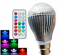 B22 Bombillas LED de Globo A60(A19) 3 leds LED de Alta Potencia Control Remoto Decorativa Regulable RGB 500lm RGBK AC 100-240V