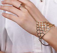 Lucky Doll Women's All Matching  Geometric Bracelet & Ring One Piece
