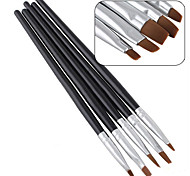 5PCS/set New Beauty Nail Art Salon Acrylic UV Gel Salon Pen Flat Brush Kit Dotting Tool For Decorations
