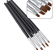 5pcs / комплект новый красота ногтей салон акриловый гель уф салон ручка плоская щетка комплект усеивание инструмент для украшения
