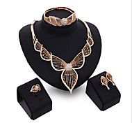 cheap -Women's Cubic Zirconia Rose Gold Plated Leaf Jewelry Set Bracelet Earrings Necklace Ring - Cuff Vintage Party Statement Fashion Leaf Rose