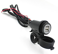 Iztoss Motorcycle 12V-24V Waterproof USB Phone Charger Adapter Double USB 2.1A