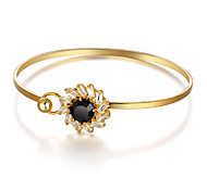 Fshion Party Accessories 18K Gold Plated Cuff Bangle Black Cubic Zirconia Bracelets & Bangles For Women