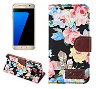 For Samsung Galaxy S7 Edge S6 Edge Plus Case Cover Flowers PU Leather Mobile Phone Holster for S5 S4 S4 Active S4 Mini S5 Mini S3