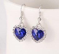 cheap -Women's Heart Crystal Drop Earrings - Heart Green Blue Pink Earrings For Wedding Party Daily