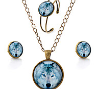 Women's Jewelry Set Simple Style Party Daily Casual Synthetic Gemstones Glass Alloy Animal Wolf Earrings Necklaces Bracelets & Bangles