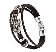 leather Charm BraceletsThree Layer Buckle Hamsa Hand Shape PU Leather Men's Bracelet Christmas Gifts