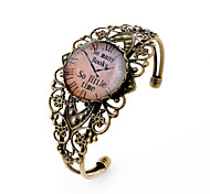 Lureme® Vintage Jewelry Time Gem Series Pocket watch Antique Bronze Hollow Flower Open Bangle Bracelet for Women