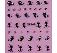 4PCS Different Styles Black Jewel Kitten Nail Stickers