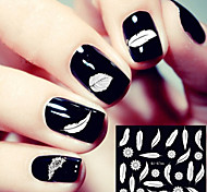 3D Western Style White Feather Nail Stickers