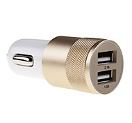 cheap -2.1A 1.0A Aluminum 2 USB Ports Universal USB Car Charger For Phone 5 6 6 Plus For ipad 2 3 4 5 For