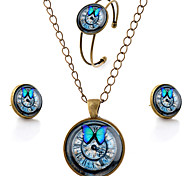 Men's Women's Jewelry Set Simple Style Party Daily Casual Gemstone Glass Alloy Butterfly Animal Earrings Necklaces Bracelets & Bangles