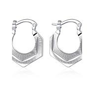lureme®Fashion Style 925 Sterling Silver Geometry Shaped Hoop Earrings