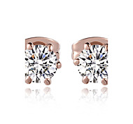 cheap -HKTC Concise Made with Austrian Crystal Stellux Jewelry Six Claws Simulated Diamond Stud EarringsImitation Diamond Birthstone