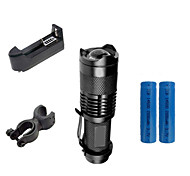 ZK50 LED Flashlights / Torch Clips and Mounts Chargers LED 2000 lm 3 Mode Cree XR-E Q5 Adjustable Focus Impact Resistant Waterproof Clip