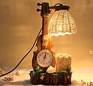 madeira criativo o violino com o dom lâmpada quarto lâmpada decoração recipiente relógio pena da mesa para o miúdo