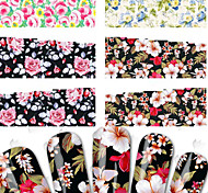 4sheets New Beauty Flower Nail Art Stickers Decals Stamping Full Tips Nail Art Water Transfer Decorations Styling Tools