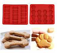 cheap -Puppy Pets Dog Paws & Bones Silicone Baking Molds Ice Tray Chocolate Mould,Set of 2