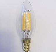 abordables -1pc 600 lm E14 Bombillas de Filamento LED C35 6 leds COB Impermeable Decorativa Blanco Cálido AC 220-240V