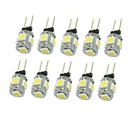 cheap -SENCART 10pcs 1.5W 90-120 lm G4 LED Spotlight T 5 leds SMD 5050 Decorative Warm White Cold White Natural White Green Yellow Blue Red DC