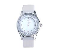 SINOBI Mujer Reloj de Moda Reloj Casual Reloj de cristal flotante Cuarzo Resistente al Agua Silicona Banda Blanco