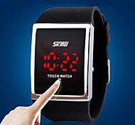 Men's Sport Watch Digital Watch Digital LED Touch Screen Silicone Band Luxury Silver