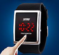 Недорогие -Муж. Спортивные часы электронные часы Цифровой LED Сенсорный дисплей силиконовый Группа Люкс Серебристый металл