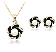 cheap -Women's Pearl / Imitation Pearl / Rhinestone Jewelry Set Earrings / Necklace - Black Jewelry Set / Necklace / Earrings For Wedding /
