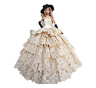 Princess Costumes For Barbie Doll Dresses Gloves Hats For Girl's Doll Toy