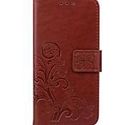 Недорогие -На все тело бумажник / Визитница / с подставкой Цветы Искусственная кожа жесткий Для крышки случая HuaweiHuawei P9 / Huawei P9 Lite /